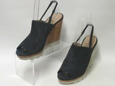DANIEL FOOTWEAR NAVY BLUE SUEDE PLATFORM WEDGE PEEP TOES UK 4 RRP £99