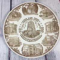 "Souvenir State Plate Ashland Ohio Sesquicentennial 1815-1965 Vintage - 10"""