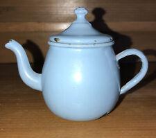 Antique Child's German? Toy Blue Enamelware Teapot #8