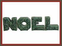 Vintage Christmas NOEL Letter Vases/Wall Pockets - Green Holly