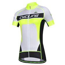 CHEJI Women's Cycling Clothing Bike Bicycle Full Zipper Short Sleeve Shirt Tops