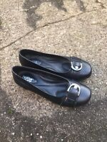 Hotter Leather Black Flat Slip On Shoes Size 5 WORN ONCE! B17
