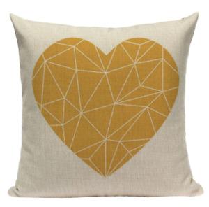 Yellow Heart YG11 Cushion Pillow Cover European Design Stylish Modern Geometric