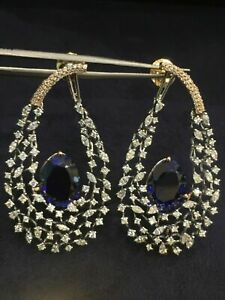 21.35 TCW Round Marquise Cut Diamonds Sapphire Dangle Earrings In Solid 14K Gold