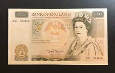 More details for *scarce* 1981 england £50 note first run low number a01 000818 uncirculated unc