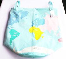 Laundry Basket Large h&m NEW 34x52cm Turquoise World Map Garment Bag Bottom Silo Bag