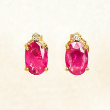 NATURAL RUBY EARRINGS  GENUINE DIAMONDS REAL 9K GOLD STUDS JULY BIRTHSTONE NEW