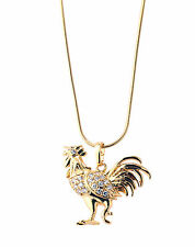 New Imitation Gold Plated White Austrian Crystal Rooster Pendant With Gold Chain