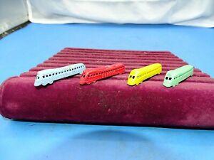 4 Vintage 1930's Tootsie Toy Zephyr Passenger Trains Cracker Jack Prizes