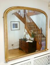 More details for extra large late victorian gilt gold archtop overmantle mirror