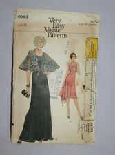 Vogue Pattern 9063 Very Easy MAXI Long DRESS CAPELET Size 8 Cut Vtg Package Wear