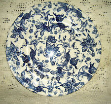 "Bilton's Made in England Blue & White 12.25"" Plate w/ Peacocks"