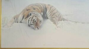 """Robert Bateman S/N 13/180 Framed Canvas lithograph """"Sudden Move"""" Siberian Tiger"""