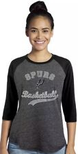 NBA San Antonio Spurs Womens Premium Triblend 3/4 Sleeve Raglan Medium Black