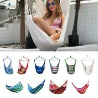 Hammock Hanging Rope Chair Swing Chair Seat with 2 Pillows for Outdoor Garden