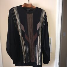 """TOSANI"" Abstract Crewneck Sweater Men's XXL BROWN BLACK GREY-100% COTTON-CANADA"