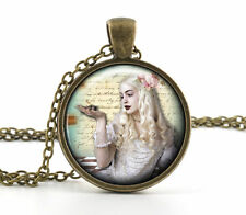 Alice in Wonderland Necklace Pendant White Queen Vintage Princess Jewelry Gift
