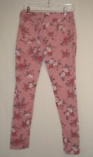 Womens Juniors Almost Famous Skinny Jeans Pink W Roses Floral Size 9 Stretch