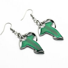 Lord of The Rings Green Leaf of Lorien Leaf Pendant Earring Set