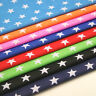"Stars Fabric - 27mm Print - HALF METRE Polycotton - 112cm 44"" WIDE Blue Red Pink"