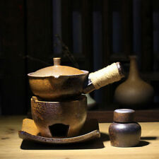 Ceramic Side Handle Teapot With Alcohol Wick Burner Stand Kungfu Tea Cooking Set