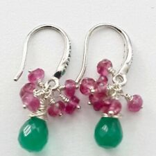 Green Onyx And Pink Tourmaline Sterling Silver Earrings