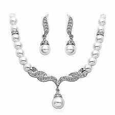 Silver Plated Diamond Crystals Pearls Earrings & Necklace Set Bride Dress
