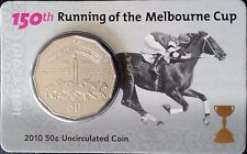 2010 150th RUNNING OF THE MELBOURNE CUP Australia 50 Cent Coin & Card (UNC)