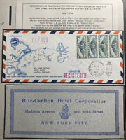 1939 New York Usa First Transatlantic Flight Cover To London England Ritz Carlto