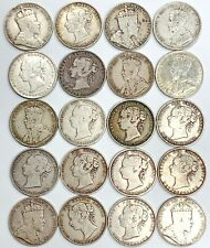 LOT (20) CANADA HALF DOLLAR FIFTY CENT NEWFOUNDLAND SILVER COINS GEORGE VICTORIA