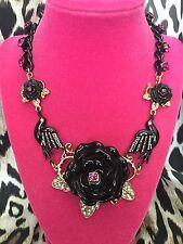 Betsey Johnson Vampire Slayer Black Rose Bird Crow Raven Spider Necklace BITE ME