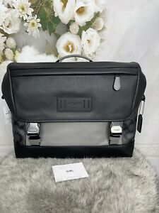 Coach Ranger Messenger Bag Black Signature Coated Canvas-Leather Colorblock $450