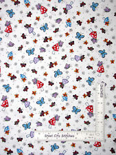 Engelbreit Mushroom Butterfly White Cotton Fabric QT Mary 's Fairies By The Yard