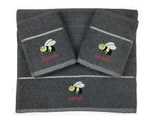 Riggs Set Of 3 Grey Bee Embroidered Kitchen Tea Towels 40cm x 70cm 100% Cotton
