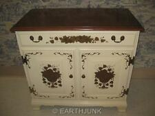 Heywood Wakefield Buffet Server Cabinet Ivory Hand Decorated with Maple Top