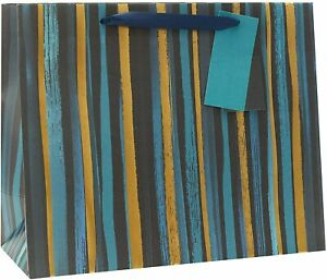 Pack of 6 Blue And Gold Stripe Large Size Gift Bags
