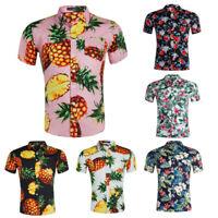 Men's Cotton Poplin Hawaiian Shirt Pineapple Floral Print Short Sleeves Shirt
