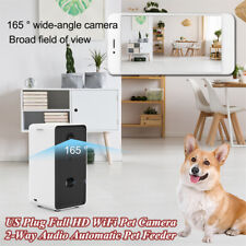 For Small Dogs Full HD WiFi Pet Camera 2-Way Audio Automatic Pet Feeder US Plug