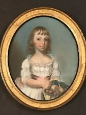 "18th Century Oval Pastel Painting  ""Portrait of a Young Child"" Gilt Wood Frame"