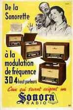 Metal Sign Poster Sonora Radio Arestein 1950s Photomontage French A4 12x8 ALumin