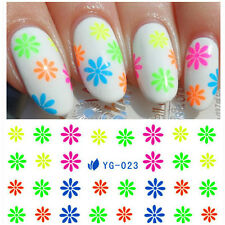 Nail Art Water Decals Transfer Stickers Colorful Wavy Stripes Arabesque Floral