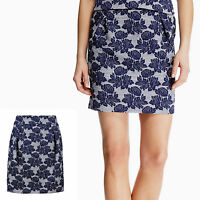 New M&S Floral Jacquard A-LINE Pleated MINI SKIRT ~ Size 14 ~ BLUE Mix