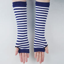 1Pair Women Lady Long Arm Warmer Knitted Fingerless Gloves Striped Elbow Mittens