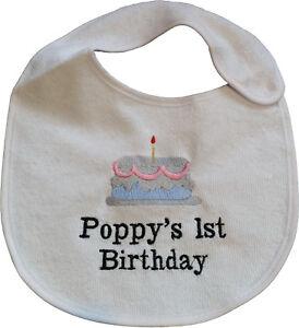 personalised embroidered baby bib vest babygrow bodysuit sleepsuit 1st birthday