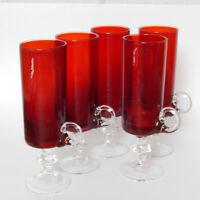 Set of 5 Vintage Red Tall Shot Cordial Liqueur Aperitif Glasses Applied Handles