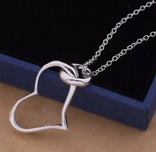 Women Fashion Jewelry 925 Sterling Silver Plated Heart Pendant Necklace 23-3