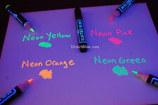 Blacklight Reactive Electric Neon Permanent Fabric Markers 5 Pack