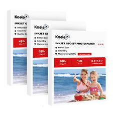 300 Sheets Koala 8.5x11 Premium Glossy 48lbs Inkjet Printer Photo Paper Epson HP