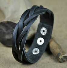 Surfer Classic 5-Band Braided Genuine Leather Bracelet Wristband Black