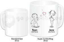 Personalised Jumbo Giant 20oz Mug- Heart Shaped Bubbles- Valentine's Day Gift